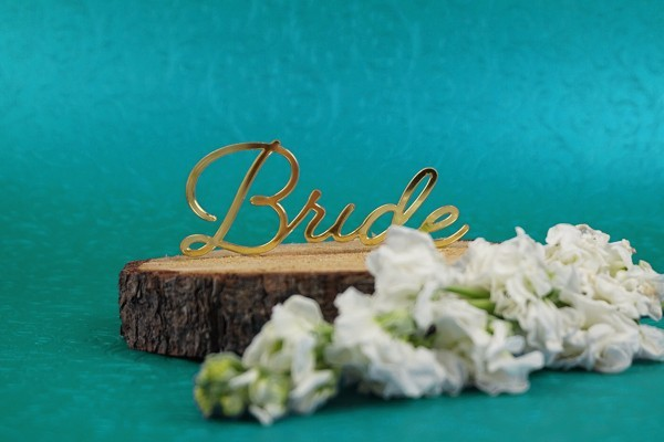 bride laser cut sign