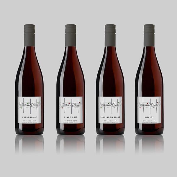 Banks Road wine bottle label design